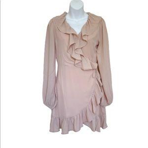 Lani the Label Pink Ruffle Wrap Long Sleeve Dress